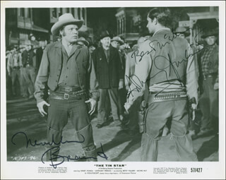 THE TIN STAR MOVIE CAST - AUTOGRAPHED SIGNED PHOTOGRAPH CO-SIGNED BY: NEVILLE BRAND, ANTHONY PERKINS