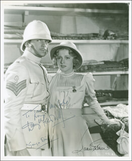 GUNGA DIN MOVIE CAST - AUTOGRAPHED INSCRIBED PHOTOGRAPH CO-SIGNED BY: JOAN FONTAINE, DOUGLAS FAIRBANKS JR.