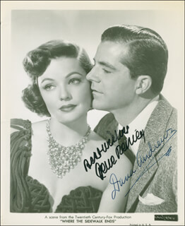 WHERE THE SIDEWALK ENDS MOVIE CAST - AUTOGRAPHED SIGNED PHOTOGRAPH CO-SIGNED BY: GENE TIERNEY, DANA ANDREWS