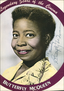 BUTTERFLY McQUEEN - INSCRIBED PRINTED PHOTOGRAPH SIGNED IN INK