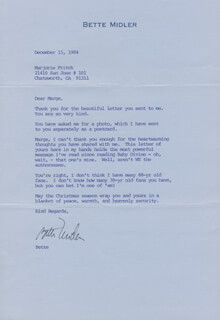 BETTE MIDLER - TYPED LETTER SIGNED 12/15/1984