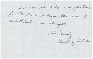 AUDREY TOTTER - AUTOGRAPH NOTE SIGNED