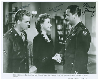 THOSE ENDEARING YOUNG CHARMS MOVIE CAST - PRINTED PHOTOGRAPH SIGNED IN INK CO-SIGNED BY: BILL WILLIAMS, ROBERT YOUNG, LARAINE DAY