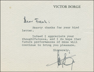 VICTOR BORGE - TYPED NOTE SIGNED