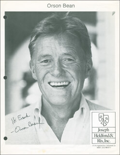 ORSON BEAN - AUTOGRAPHED INSCRIBED PHOTOGRAPH