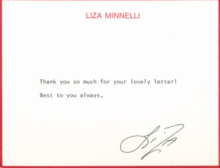 LIZA MINNELLI - TYPED NOTE SIGNED CIRCA 1986