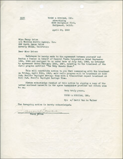 FANNY BRICE - DOCUMENT SIGNED 04/20/1948