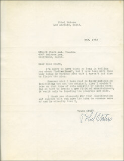 ETHEL WATERS - TYPED LETTER SIGNED 03/1943