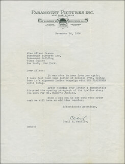 CECIL B. DEMILLE - TYPED LETTER SIGNED 11/14/1936