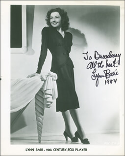 LYNN BARI - AUTOGRAPHED INSCRIBED PHOTOGRAPH 1984