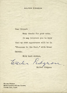 WALTER PIDGEON - TYPED LETTER SIGNED