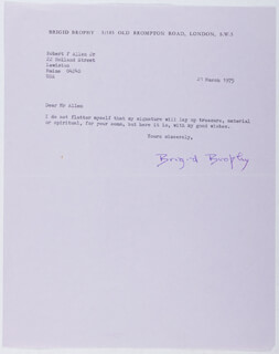 BRIGID BROPHY - TYPED LETTER SIGNED 03/21/1975
