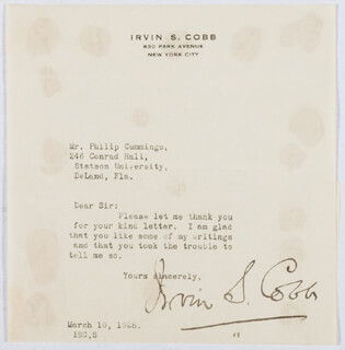 Autographs: IRVIN S. COBB - TYPED LETTER SIGNED 03/10/1928