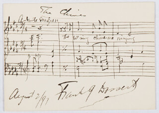 FRANK G. DOSSERT - AUTOGRAPH MUSICAL QUOTATION SIGNED 08/02/1897