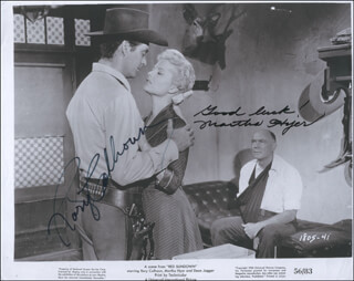 RED SUNDOWN MOVIE CAST - PRINTED PHOTOGRAPH SIGNED IN INK CO-SIGNED BY: RORY CALHOUN, MARTHA HYER