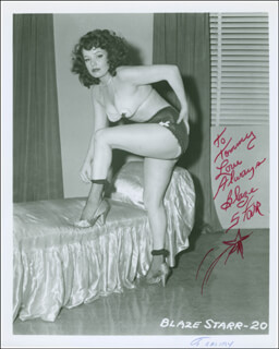 BLAZE STARR - AUTOGRAPHED INSCRIBED PHOTOGRAPH
