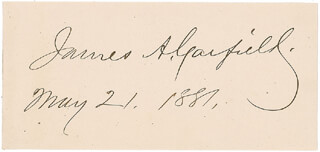 PRESIDENT JAMES A. GARFIELD - AUTOGRAPH 05/21/1881