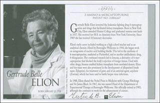 GERTRUDE B. ELION - BIOGRAPHY SIGNED