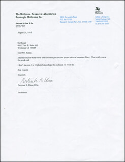 Autographs: GERTRUDE B. ELION - TYPED LETTER SIGNED 08/29/1995