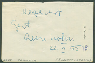 GERT REINHOLM - AUTOGRAPH SENTIMENT SIGNED 06/22/1955 CO-SIGNED BY: INGE LANGEN
