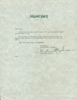 THE McGUIRE SISTERS (CHRISTINE McGUIRE) - TYPED LETTER SIGNED