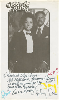 OSSIE DAVIS - INSCRIBED PRINTED PHOTOGRAPH SIGNED IN INK CO-SIGNED BY: RUBY DEE