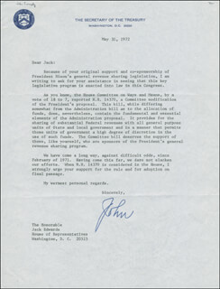 JOHN B. CONNALLY JR. - TYPED LETTER SIGNED 05/31/1972