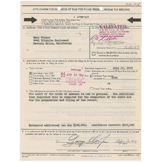 GARY COOPER - DOCUMENT SIGNED 04/14/1959
