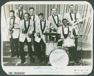 THE TRENIERS - AUTOGRAPHED SIGNED PHOTOGRAPH CO-SIGNED BY: JIMMY JOHNSON, THE TRENIERS (CLIFF TRENIER), THE TRENIERS (CLAUDE TRENIER), THE TRENIERS (DON HILL), THE TRENIERS (HENRY GREEN), THE TRENIERS (GENE GILBEAUX), THE TRENIERS (BUDDY TRENIER)