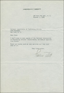 LAWRENCE TIBBETT - TYPED LETTER SIGNED 10/07/1936