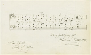 Autographs: WILLIAM STAUNTON - AUTOGRAPH MUSICAL QUOTATION SIGNED 07/06/1868 CO-SIGNED BY: SAMUEL ROOSEVELT JOHNSON