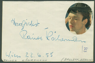 RAINER KOCHERMANN - AUTOGRAPH SENTIMENT SIGNED 06/22/1955 CO-SIGNED BY: FRIEDEL HERFURTH