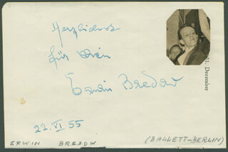 ERWIN BREDOW - AUTOGRAPH NOTE SIGNED 06/22/1955 CO-SIGNED BY: HELLA TROESTER