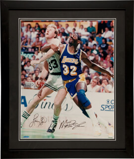 EARVIN MAGIC JOHNSON - AUTOGRAPHED SIGNED PHOTOGRAPH CO-SIGNED BY: LARRY BIRD