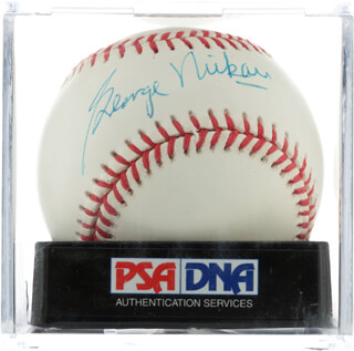 Autographs: GEORGE L. MIKAN - BASEBALL SIGNED
