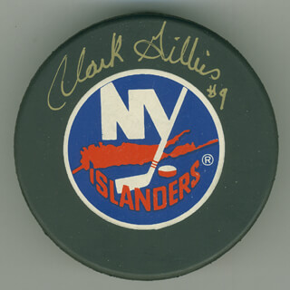 CLARK GILLIES - HOCKEY PUCK SIGNED