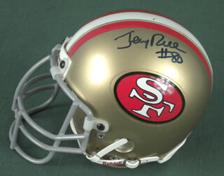 JERRY RICE - MINIATURE HELMET SIGNED