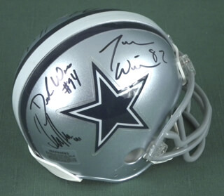 DALLAS COWBOYS - MINIATURE HELMET SIGNED CO-SIGNED BY: TERENCE NEWMAN, DeMARCUS WARE, JASON WITTEN, NICK FOLK, MAT McBRIAR