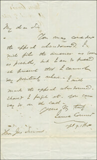 Autographs: BRIGADIER GENERAL JAMES CONNER - AUTOGRAPH LETTER SIGNED 04/09/1860