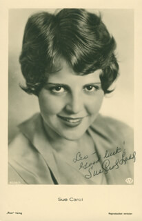 SUE CAROL LADD - INSCRIBED PICTURE POSTCARD SIGNED