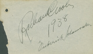 RICHARD CROOKS - AUTOGRAPH 1938 CO-SIGNED BY: FREDERICK SCHAUWECKER