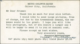 Autographs: FREDDIE BARTHOLOMEW - TYPED NOTE SIGNED