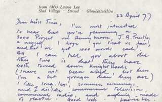 LAURIE LEE - AUTOGRAPH LETTER SIGNED 04/22/1977