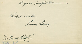 LAWRENCE LARRY GRAY - AUTOGRAPH SENTIMENT SIGNED CIRCA 1925