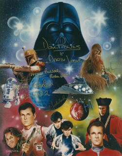 MARK GODDARD - AUTOGRAPHED SIGNED PHOTOGRAPH CO-SIGNED BY: DAVE PROWSE, KENNY BAKER, PETER CHEWBACCA MAYHEW, JEREMY BULLOCH, WARWICK DAVIS