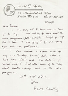 HARRY R.F. KEATING - AUTOGRAPH LETTER SIGNED 06/02/1976