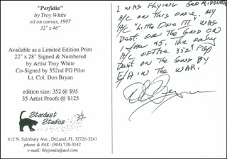 Autographs: LT. COLONEL DONALD BRYAN - AUTOGRAPH NOTE ON PICTURE POSTCARD SIGNED