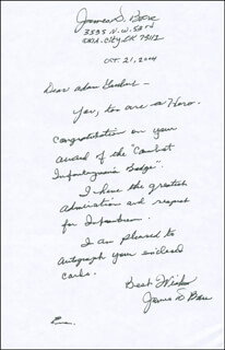 JAMES D. BARE - AUTOGRAPH LETTER SIGNED