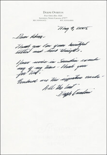 DOLPH OVERTON - AUTOGRAPH LETTER SIGNED