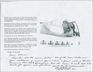 LT. COLONEL CLYDE B. EAST - AUTOGRAPH LETTER SIGNED 02/07/2005